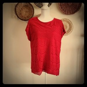🌞$20 for 4🌞 Faded Glory Red Knitted Blouse